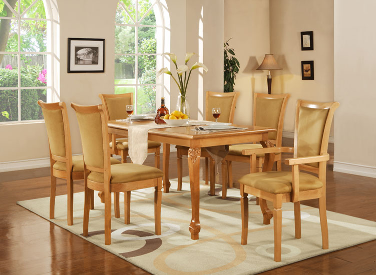 Dining Sets: Rectangular Table, Chair & Armchair With Cushion