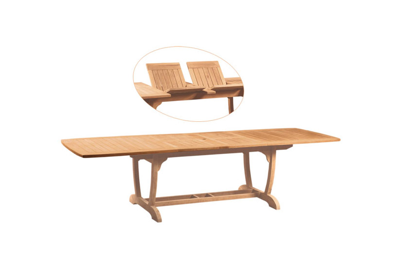 U Rectangular Double Extension Table