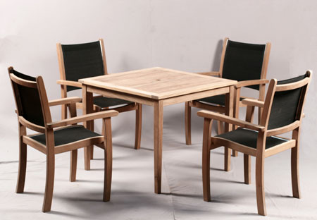 Square Table & Textilene Armchair